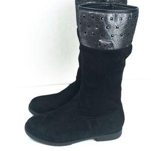 Stuart Weitzman Black Crystal Stud Boots